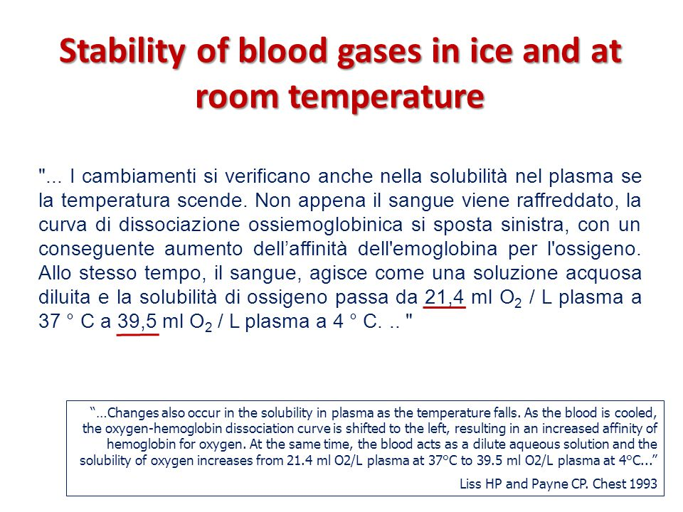 Stability of blood gases in ice and at room temperature …Changes also occur in the solubility in plasma as the temperature falls.