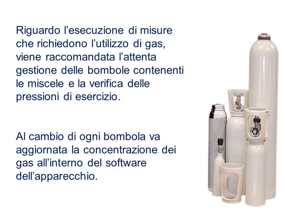 Riguardo l'esecuzione di misure che richiedono l'utilizzo di gas, viene raccomandata l'attenta gestione delle bombole contenenti le miscele e la verif