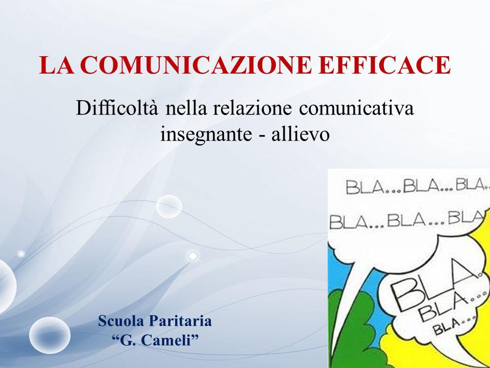 """LA COMUNICAZIONE EFFICACE Difficoltà nella relazione comunicativa insegnante - allievo Scuola Paritaria """"G. Cameli"""""""