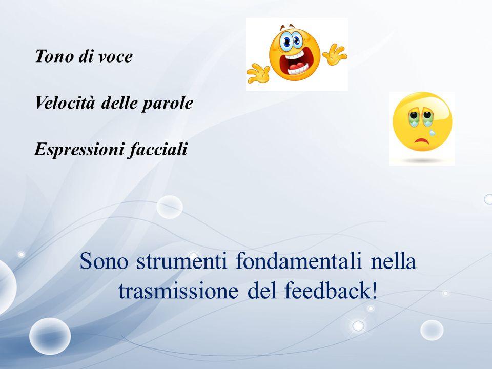 Tono di voce Velocità delle parole Espressioni facciali Sono strumenti fondamentali nella trasmissione del feedback!