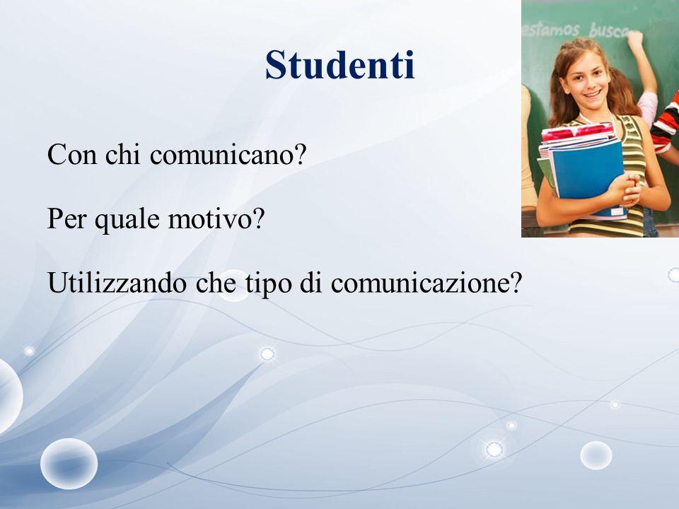 Studenti Con chi comunicano? Per quale motivo? Utilizzando che tipo di comunicazione?