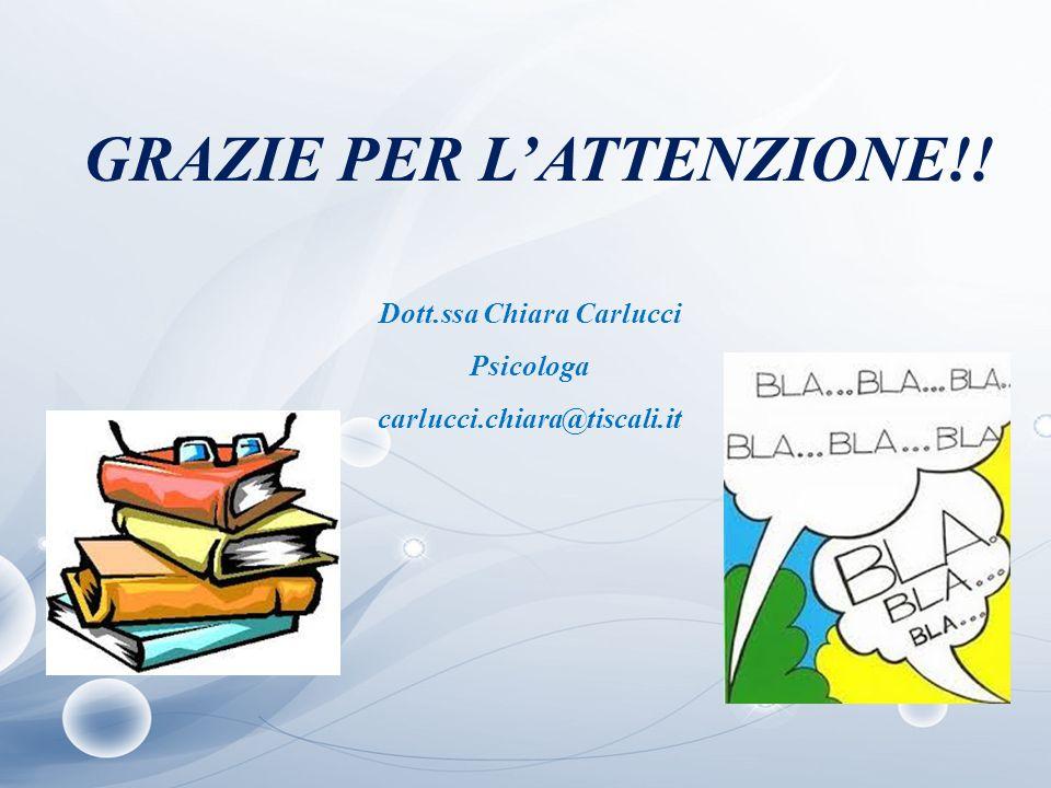 GRAZIE PER L'ATTENZIONE!! Dott.ssa Chiara Carlucci Psicologa carlucci.chiara@tiscali.it