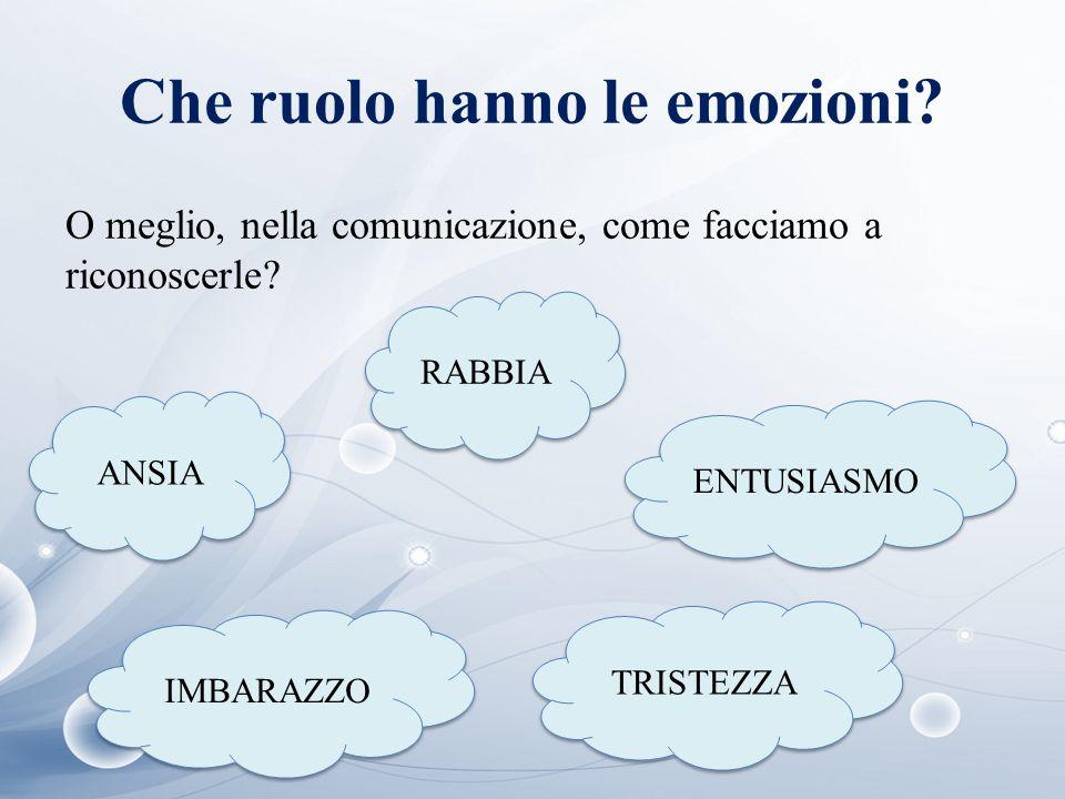 Che ruolo hanno le emozioni? ANSIA O meglio, nella comunicazione, come facciamo a riconoscerle? RABBIA IMBARAZZO ENTUSIASMO TRISTEZZA