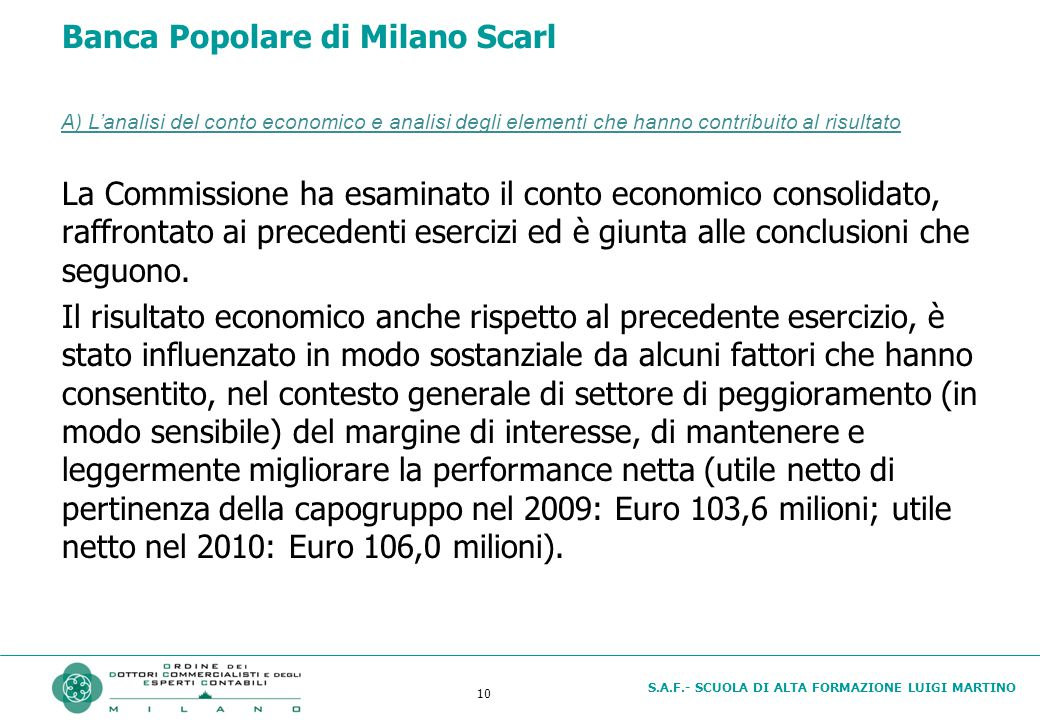 S.A.F.- SCUOLA DI ALTA FORMAZIONE LUIGI MARTINO 10 Banca Popolare di Milano Scarl La Commissione ha esaminato il conto economico consolidato, raffront