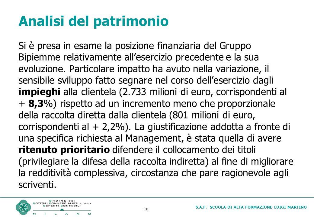 S.A.F.- SCUOLA DI ALTA FORMAZIONE LUIGI MARTINO 18 Analisi del patrimonio Si è presa in esame la posizione finanziaria del Gruppo Bipiemme relativamente all'esercizio precedente e la sua evoluzione.