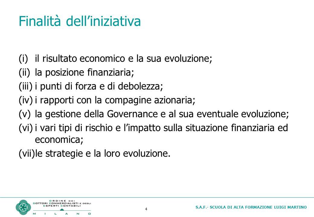 S.A.F.- SCUOLA DI ALTA FORMAZIONE LUIGI MARTINO 4 Finalità dell'iniziativa (i)il risultato economico e la sua evoluzione; (ii)la posizione finanziaria; (iii)i punti di forza e di debolezza; (iv)i rapporti con la compagine azionaria; (v)la gestione della Governance e al sua eventuale evoluzione; (vi)i vari tipi di rischio e l'impatto sulla situazione finanziaria ed economica; (vii)le strategie e la loro evoluzione.