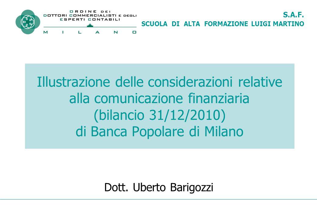 S.A.F. SCUOLA DI ALTA FORMAZIONE LUIGI MARTINO Illustrazione delle considerazioni relative alla comunicazione finanziaria (bilancio 31/12/2010) di Ban