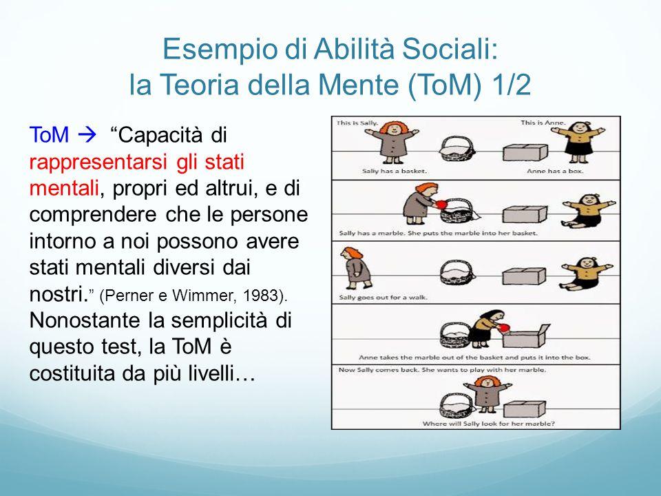 """Esempio di Abilità Sociali: la Teoria della Mente (ToM) 1/2 ToM  """"Capacità di rappresentarsi gli stati mentali, propri ed altrui, e di comprendere ch"""