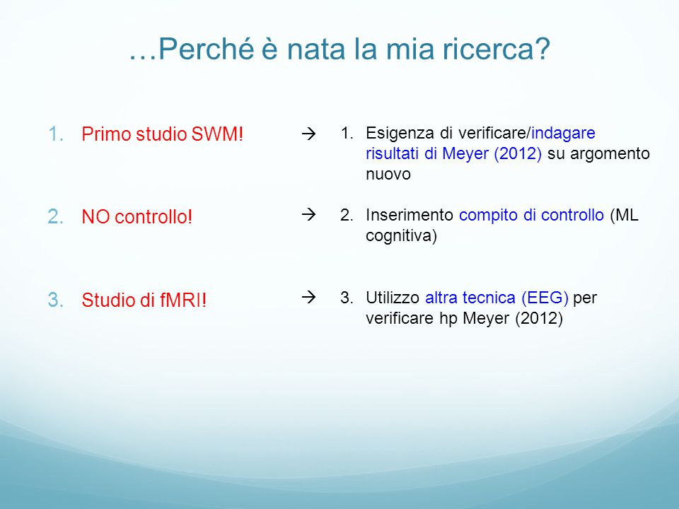 …Perché è nata la mia ricerca? 1. Primo studio SWM! 2. NO controllo! 3. Studio di fMRI! 1.Esigenza di verificare/indagare risultati di Meyer (2012) su
