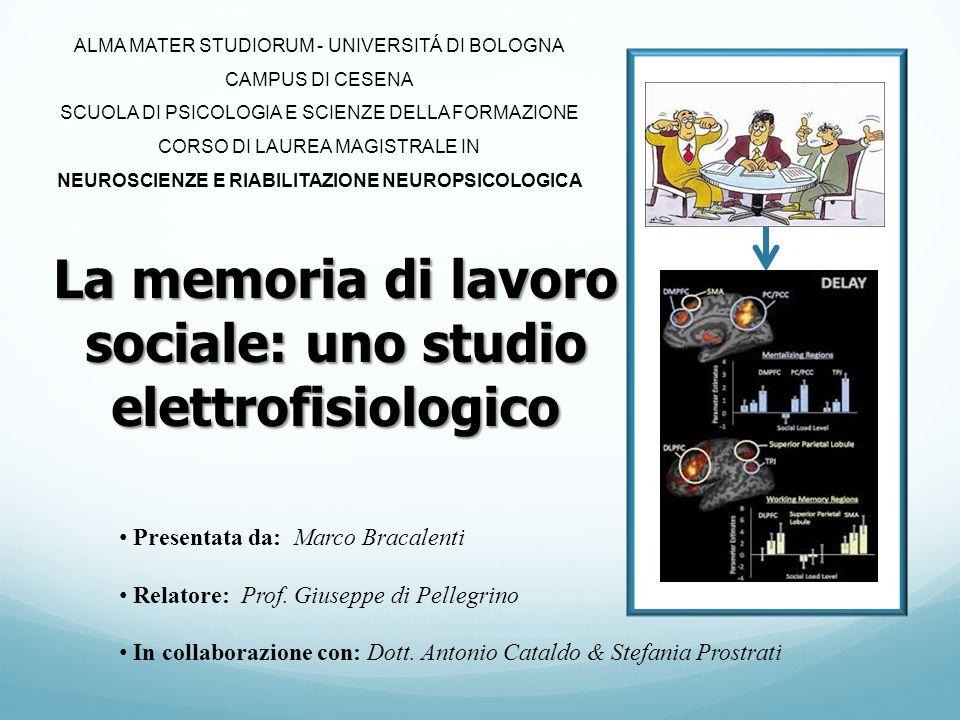 La memoria di lavoro sociale: uno studio elettrofisiologico Presentata da: Marco Bracalenti Relatore: Prof. Giuseppe di Pellegrino In collaborazione c