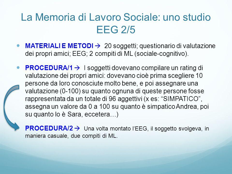 La Memoria di Lavoro Sociale: uno studio EEG 2/5 MATERIALI E METODI  20 soggetti; questionario di valutazione dei propri amici; EEG; 2 compiti di ML