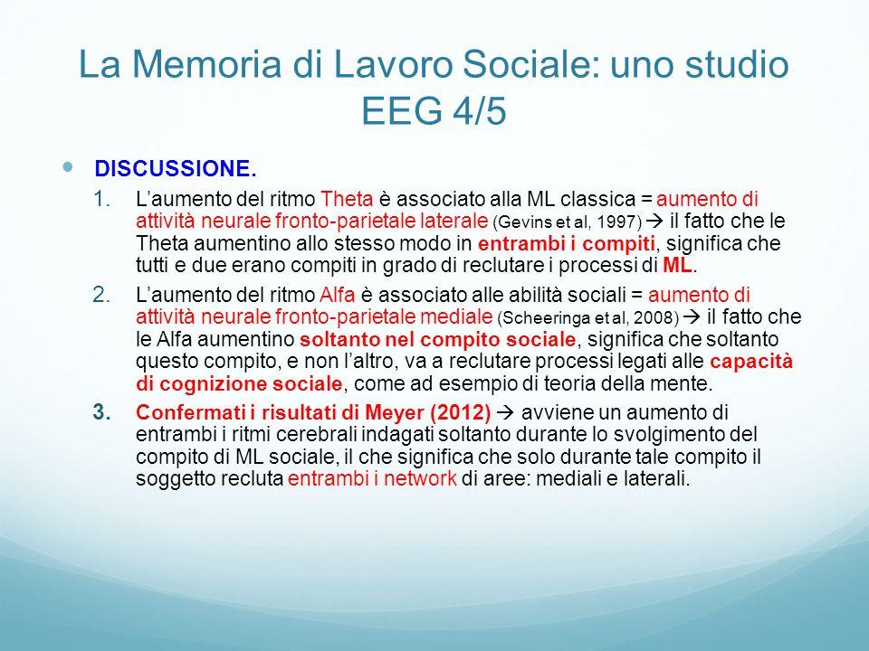 La Memoria di Lavoro Sociale: uno studio EEG 4/5 DISCUSSIONE. 1. L'aumento del ritmo Theta è associato alla ML classica = aumento di attività neurale
