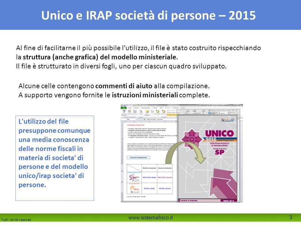 Tutti i diritti riservati www.sistemafisco.it 3 Unico e IRAP società di persone – 2015 Al fine di facilitarne il più possibile l'utilizzo, il file è s