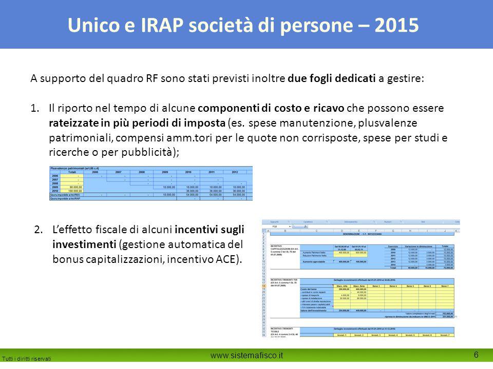 Tutti i diritti riservati www.sistemafisco.it 6 Unico e IRAP società di persone – 2015 A supporto del quadro RF sono stati previsti inoltre due fogli