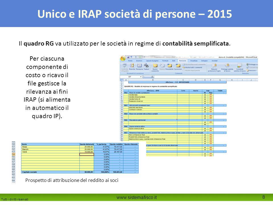 Tutti i diritti riservati www.sistemafisco.it 9 Unico e IRAP società di persone – 2015 Il quadro RS gestisce in automatico anche la sezione sulla verifica per le società di comodo e il test per società in perdita sistematica.