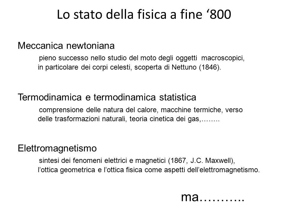 Lo stato della fisica a fine '800 ma……….. Meccanica newtoniana pieno successo nello studio del moto degli oggetti macroscopici, in particolare dei cor