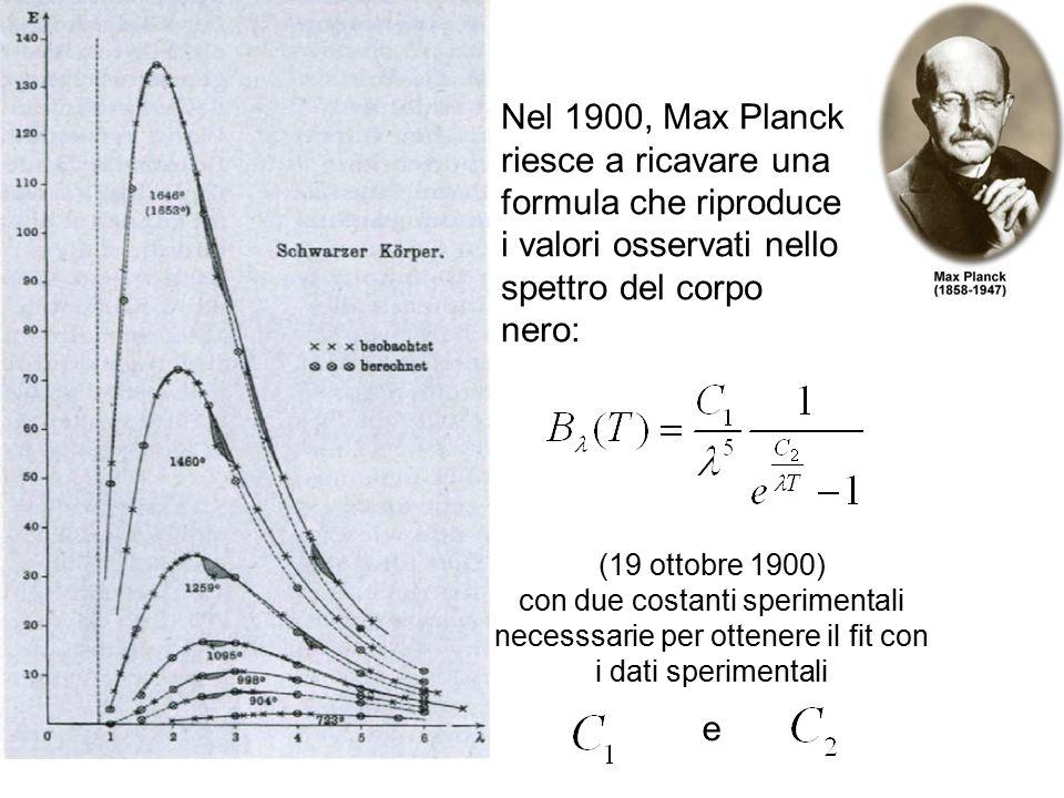 Nel 1900, Max Planck riesce a ricavare una formula che riproduce i valori osservati nello spettro del corpo nero: (19 ottobre 1900) con due costanti s