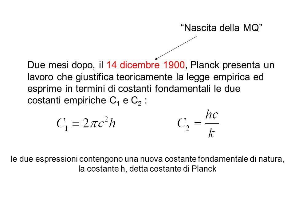 Due mesi dopo, il 14 dicembre 1900, Planck presenta un lavoro che giustifica teoricamente la legge empirica ed esprime in termini di costanti fondamen