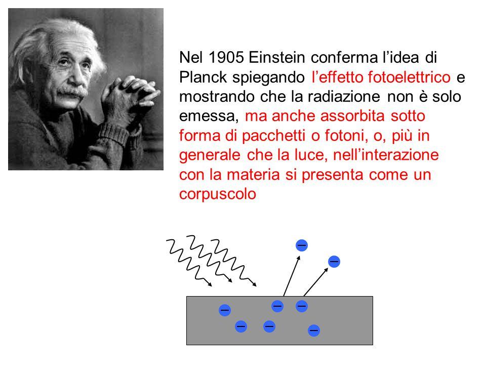 Nel 1905 Einstein conferma l'idea di Planck spiegando l'effetto fotoelettrico e mostrando che la radiazione non è solo emessa, ma anche assorbita sott