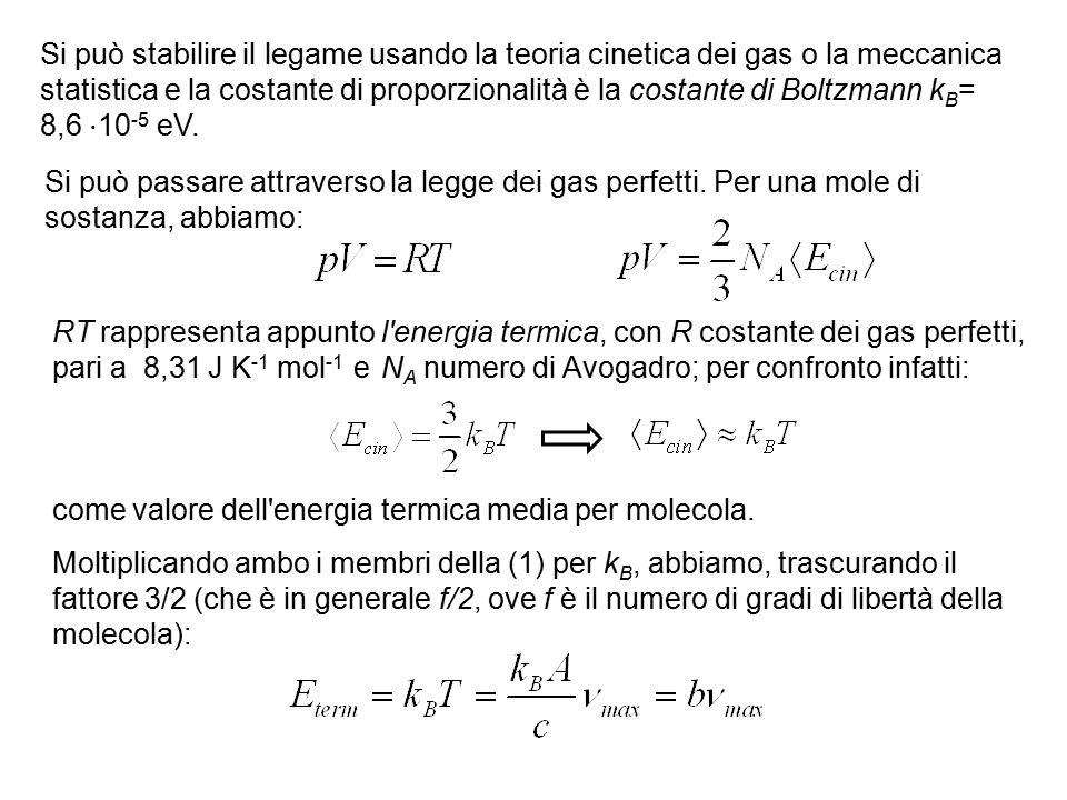 Si può stabilire il legame usando la teoria cinetica dei gas o la meccanica statistica e la costante di proporzionalità è la costante di Boltzmann k B