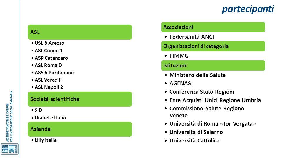 partecipanti ASL USL 8 Arezzo ASL Cuneo 1 ASP Catanzaro ASL Roma D ASS 6 Pordenone ASL Vercelli ASL Napoli 2 Società scientifiche SID Diabete Italia A