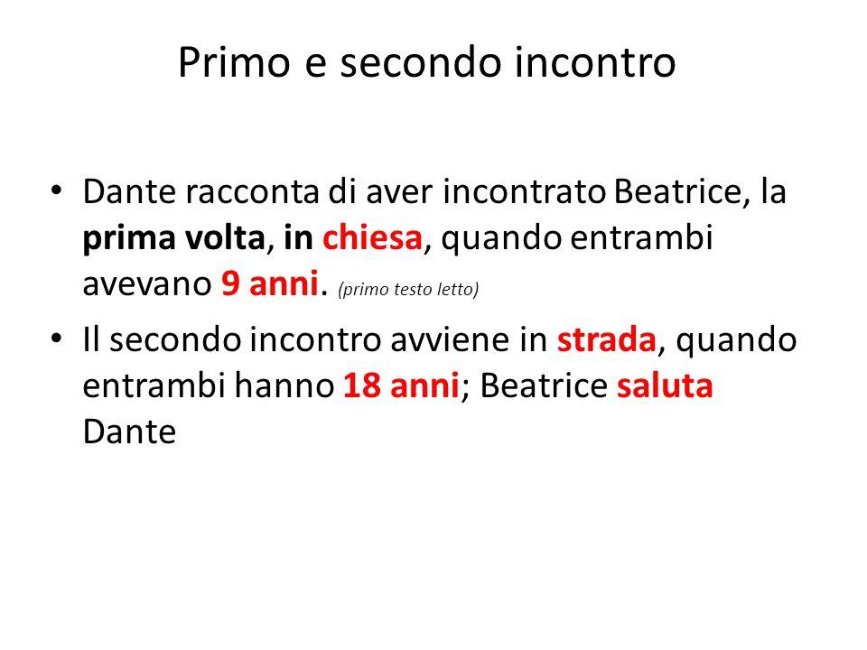 Dante racconta di aver incontrato Beatrice, la prima volta, in chiesa, quando entrambi avevano 9 anni. (primo testo letto) Il secondo incontro avviene