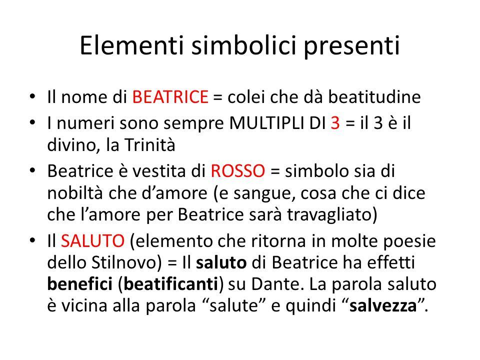 Elementi simbolici presenti Il nome di BEATRICE = colei che dà beatitudine I numeri sono sempre MULTIPLI DI 3 = il 3 è il divino, la Trinità Beatrice