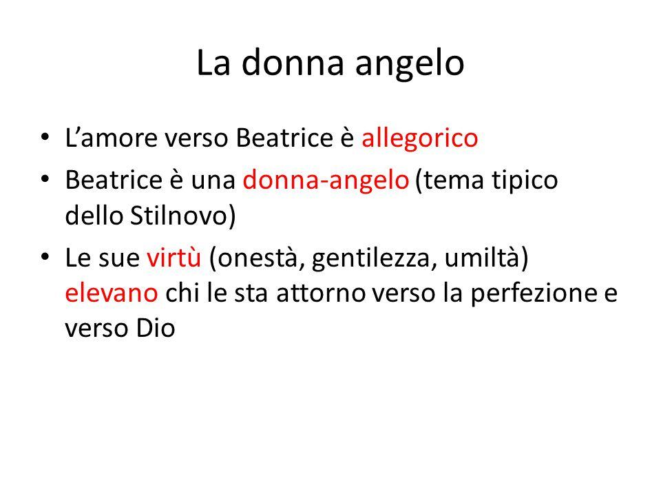 La donna angelo L'amore verso Beatrice è allegorico Beatrice è una donna-angelo (tema tipico dello Stilnovo) Le sue virtù (onestà, gentilezza, umiltà)