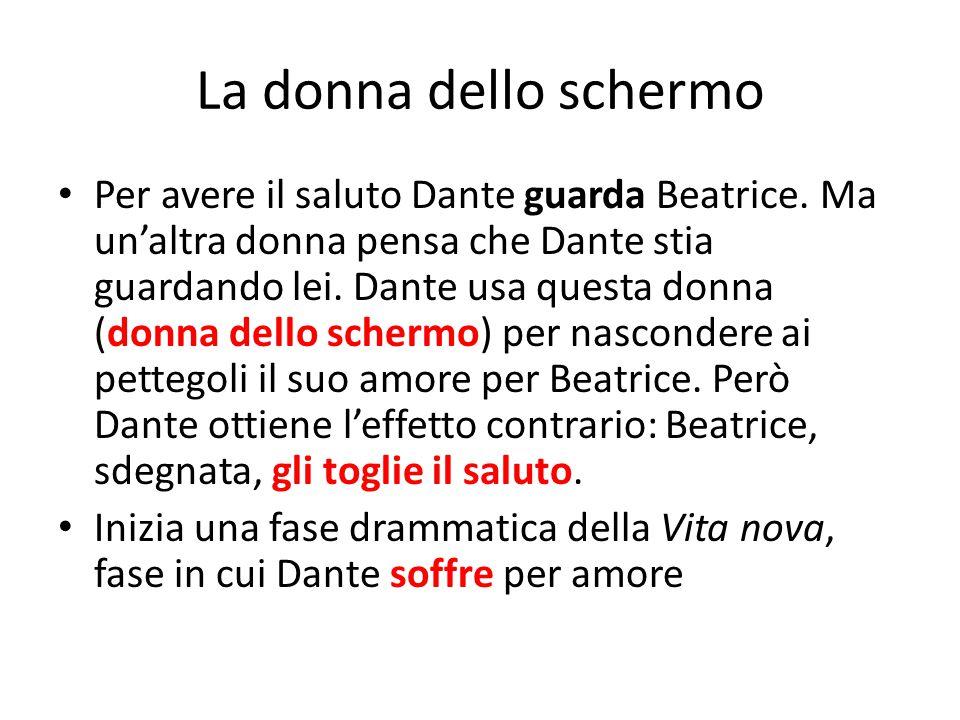 La donna dello schermo Per avere il saluto Dante guarda Beatrice. Ma un'altra donna pensa che Dante stia guardando lei. Dante usa questa donna (donna