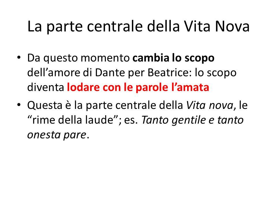La parte centrale della Vita Nova Da questo momento cambia lo scopo dell'amore di Dante per Beatrice: lo scopo diventa lodare con le parole l'amata Qu