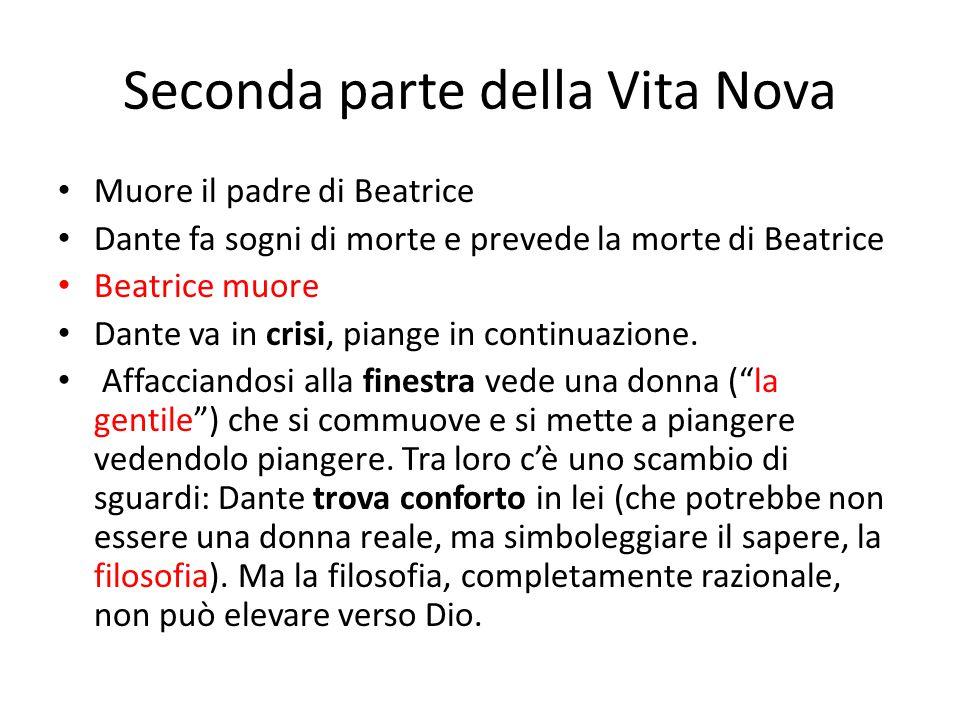 Seconda parte della Vita Nova Muore il padre di Beatrice Dante fa sogni di morte e prevede la morte di Beatrice Beatrice muore Dante va in crisi, pian