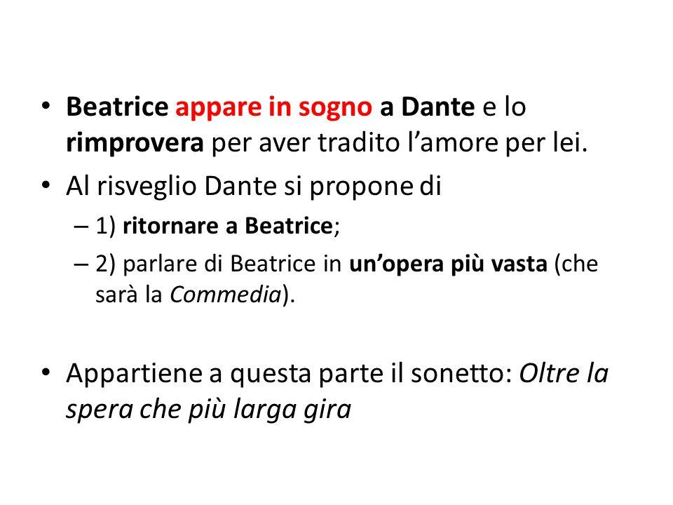 Beatrice appare in sogno a Dante e lo rimprovera per aver tradito l'amore per lei. Al risveglio Dante si propone di – 1) ritornare a Beatrice; – 2) pa