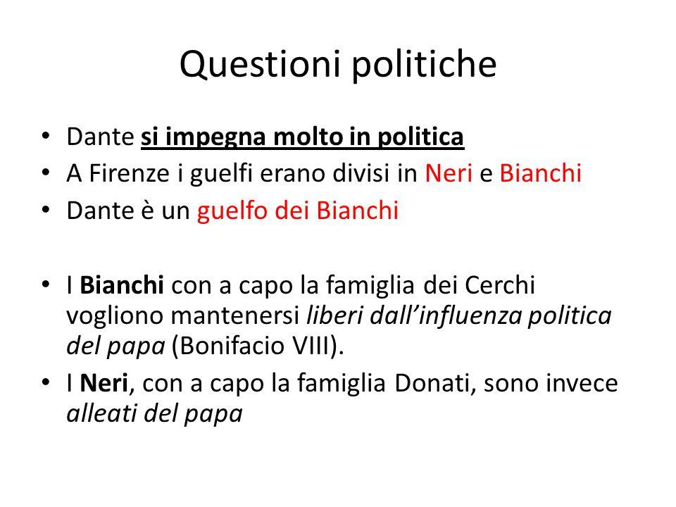 Questioni politiche Dante si impegna molto in politica A Firenze i guelfi erano divisi in Neri e Bianchi Dante è un guelfo dei Bianchi I Bianchi con a