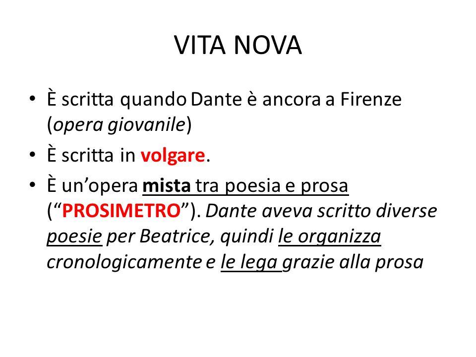 """VITA NOVA È scritta quando Dante è ancora a Firenze (opera giovanile) È scritta in volgare. È un'opera mista tra poesia e prosa (""""PROSIMETRO""""). Dante"""