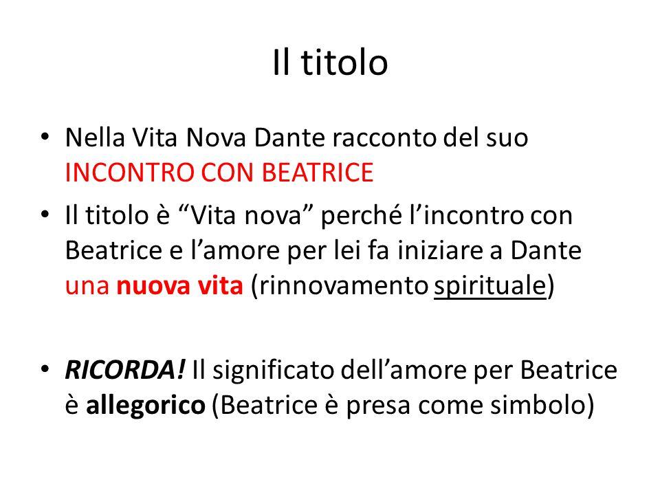 """Il titolo Nella Vita Nova Dante racconto del suo INCONTRO CON BEATRICE Il titolo è """"Vita nova"""" perché l'incontro con Beatrice e l'amore per lei fa ini"""