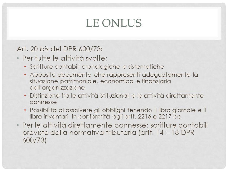 LE ONLUS Art. 20 bis del DPR 600/73: Per tutte le attività svolte: Scritture contabili cronologiche e sistematiche Apposito documento che rappresenti