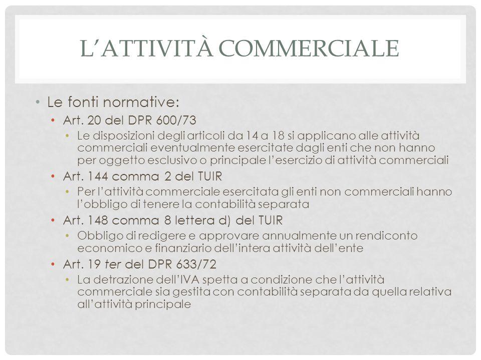 L'ATTIVITÀ COMMERCIALE Le fonti normative: Art. 20 del DPR 600/73 Le disposizioni degli articoli da 14 a 18 si applicano alle attività commerciali eve