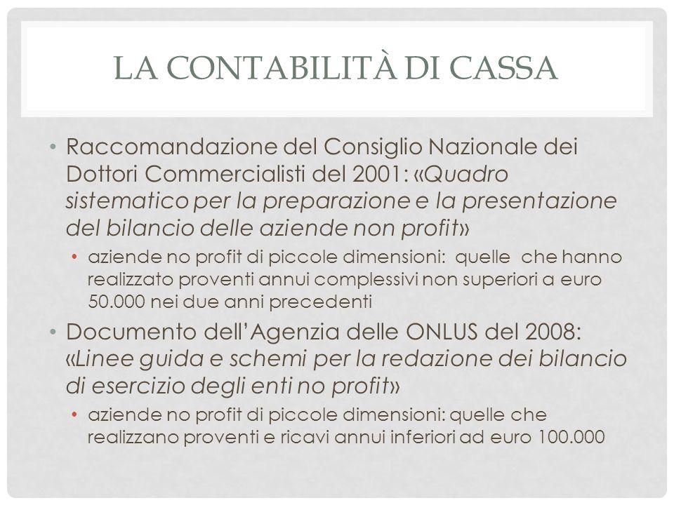 LA CONTABILITÀ DI CASSA Raccomandazione del Consiglio Nazionale dei Dottori Commercialisti del 2001: «Quadro sistematico per la preparazione e la pres