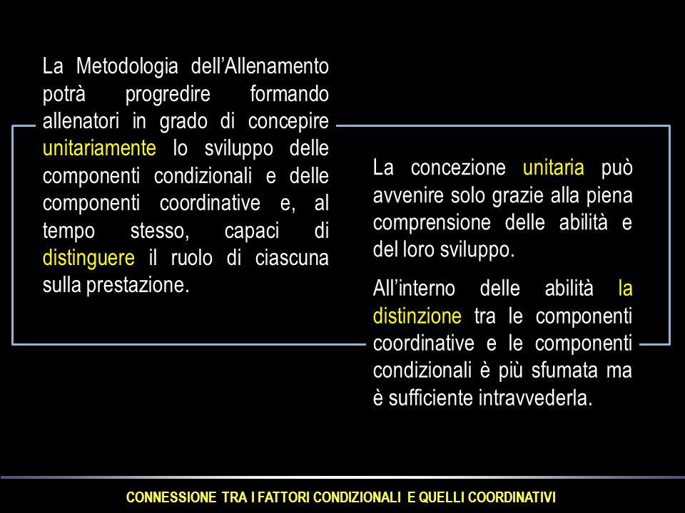 CONNESSIONE TRA I FATTORI CONDIZIONALI E QUELLI COORDINATIVI La Metodologia dell'Allenamento potrà progredire formando allenatori in grado di concepire unitariamente lo sviluppo delle componenti condizionali e delle componenti coordinative e, al tempo stesso, capaci di distinguere il ruolo di ciascuna sulla prestazione.