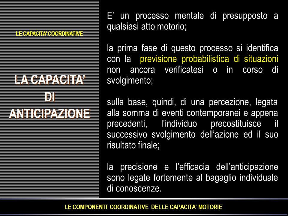 LA CAPACITA' DIANTICIPAZIONE DIANTICIPAZIONE E' un processo mentale di presupposto a qualsiasi atto motorio; la prima fase di questo processo si identifica con la previsione probabilistica di situazioni non ancora verificatesi o in corso di svolgimento; sulla base, quindi, di una percezione, legata alla somma di eventi contemporanei e appena precedenti, l'individuo precostituisce il successivo svolgimento dell'azione ed il suo risultato finale; la precisione e l'efficacia dell'anticipazione sono legate fortemente al bagaglio individuale di conoscenze.