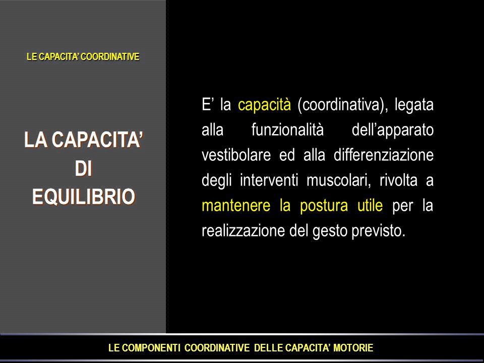 LA CAPACITA' DIEQUILIBRIO DIEQUILIBRIO E' la capacità (coordinativa), legata alla funzionalità dell'apparato vestibolare ed alla differenziazione degli interventi muscolari, rivolta a mantenere la postura utile per la realizzazione del gesto previsto.