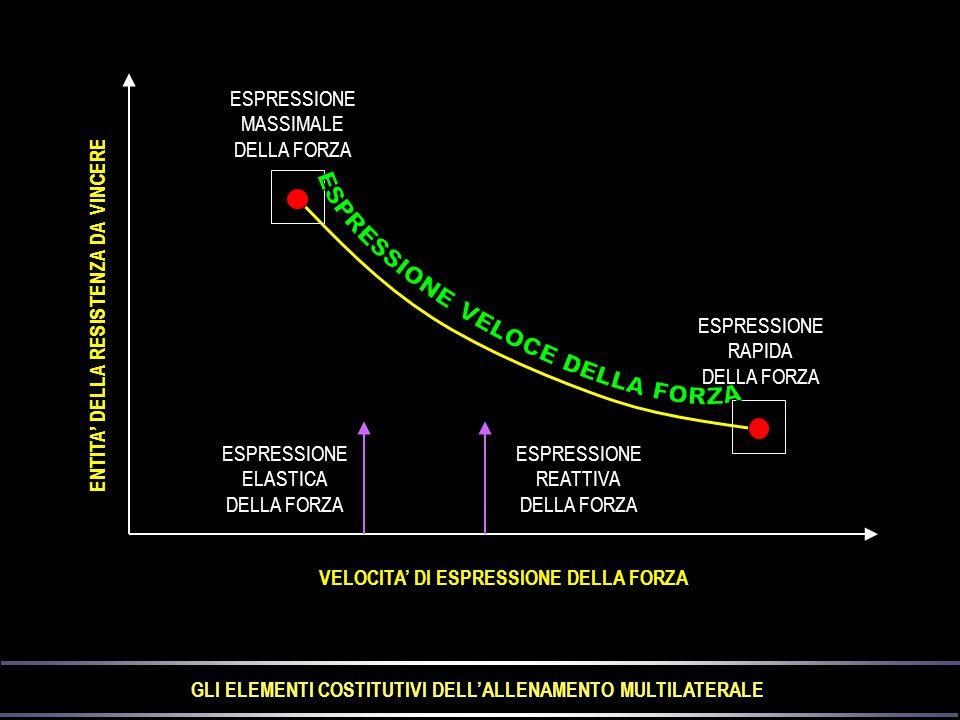 ESPRESSIONE MASSIMALE DELLA FORZA ESPRESSIONE RAPIDA DELLA FORZA ESPRESSIONE ELASTICA DELLA FORZA ESPRESSIONE REATTIVA DELLA FORZA VELOCITA' DI ESPRESSIONE DELLA FORZA ENTITA' DELLA RESISTENZA DA VINCERE GLI ELEMENTI COSTITUTIVI DELL'ALLENAMENTO MULTILATERALE