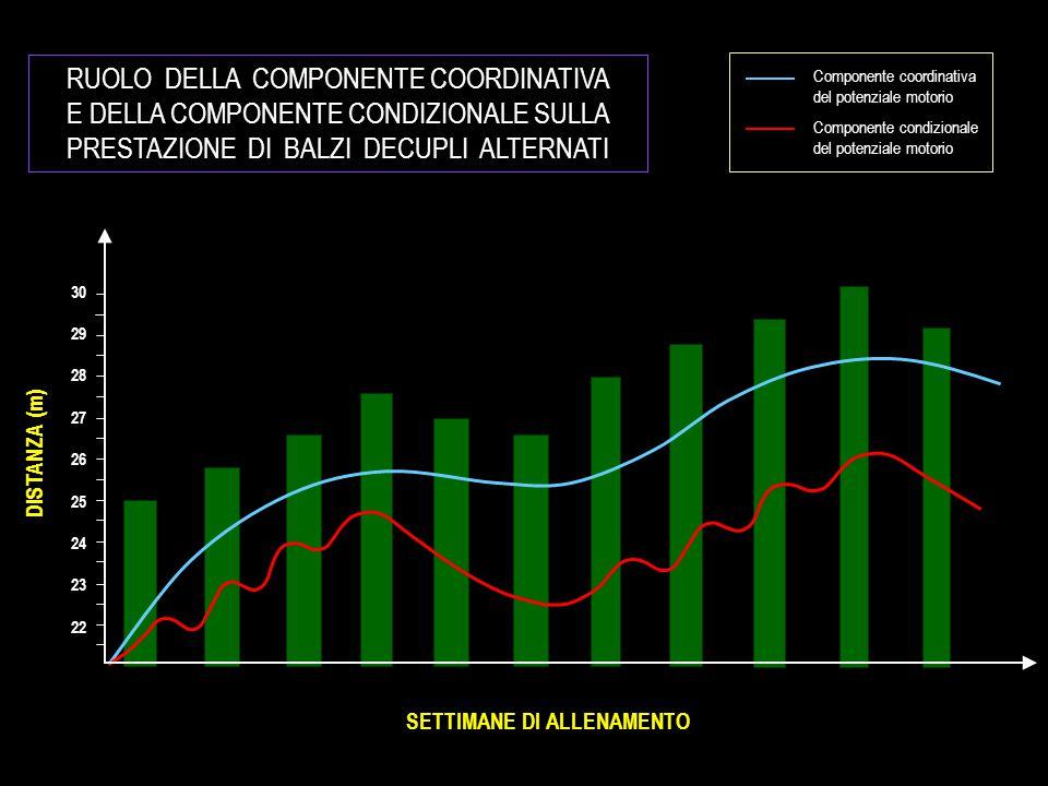 RUOLO DELLA COMPONENTE COORDINATIVA E DELLA COMPONENTE CONDIZIONALE SULLA PRESTAZIONE DI BALZI DECUPLI ALTERNATI SETTIMANE DI ALLENAMENTO DISTANZA (m) 30 29 28 27 26 25 24 23 22 Componente coordinativa del potenziale motorio Componente condizionale del potenziale motorio