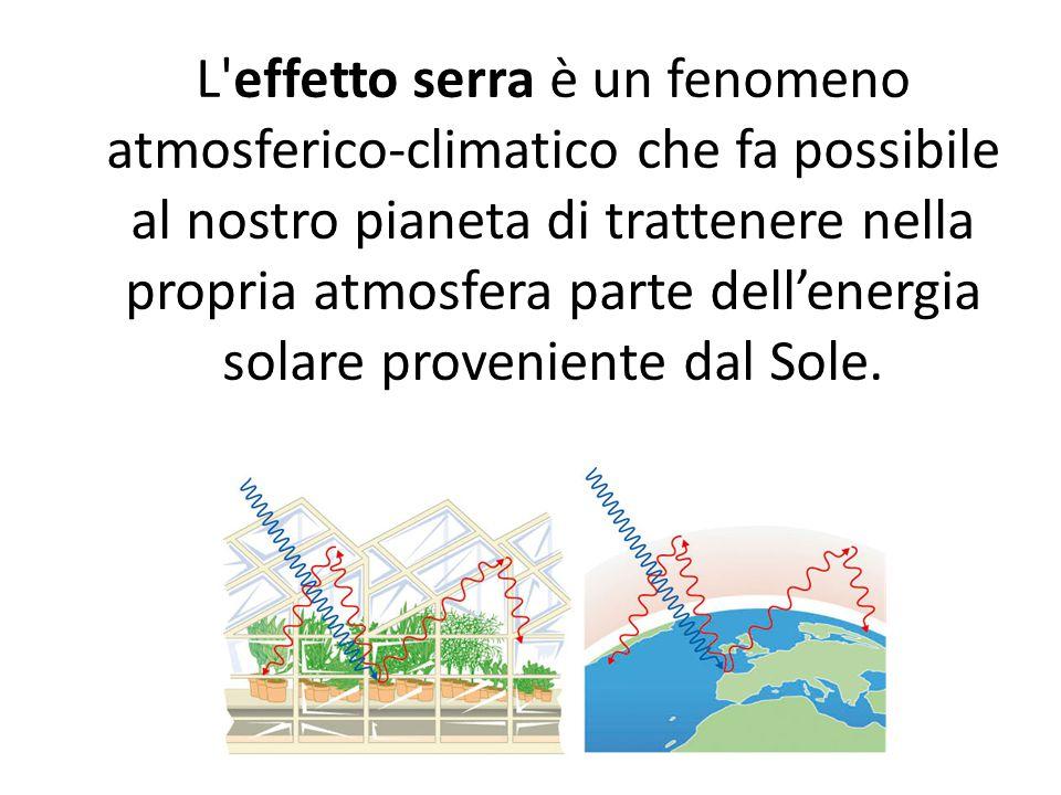 L'effetto serra è un fenomeno atmosferico-climatico che fa possibile al nostro pianeta di trattenere nella propria atmosfera parte dell'energia solare