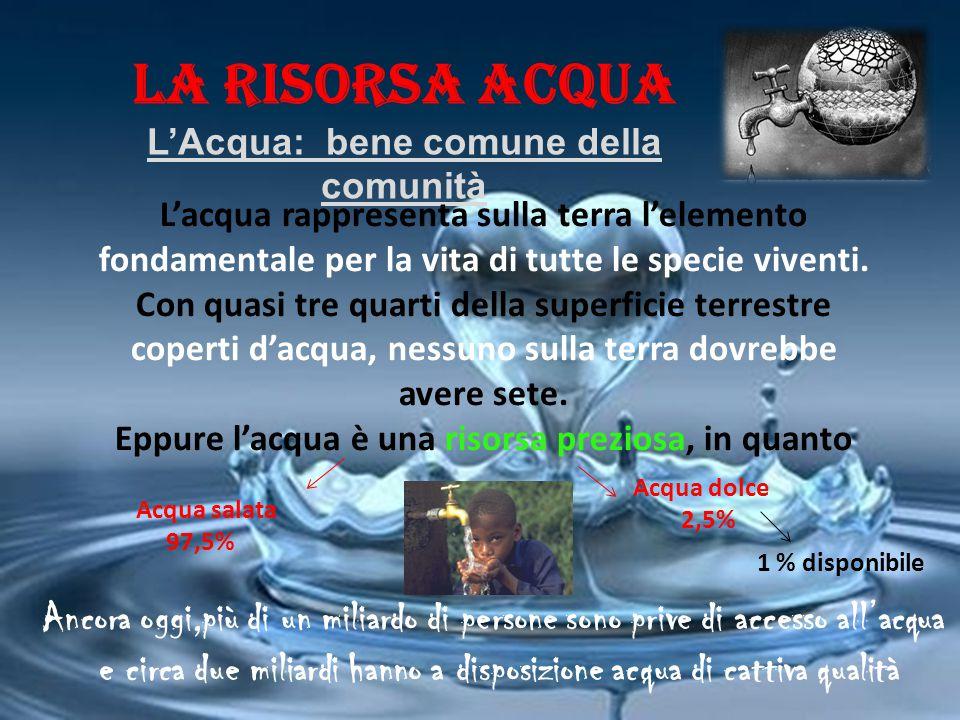 LA RISORSA ACQUA L'Acqua: bene comune della comunità L'acqua rappresenta sulla terra l'elemento fondamentale per la vita di tutte le specie viventi. C