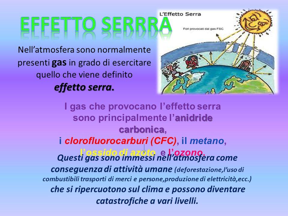 Nell'atmosfera sono normalmente presenti gas in grado di esercitare quello che viene definito effetto serra. anidride carbonica I gas che provocano l'