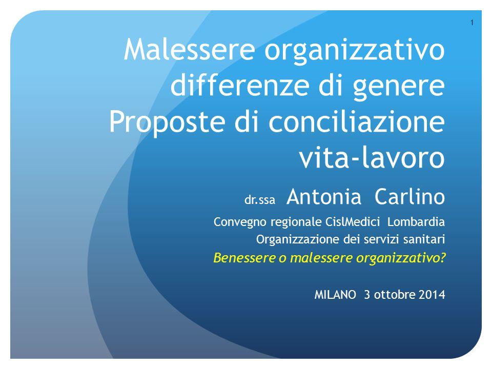 Malessere organizzativo differenze di genere Proposte di conciliazione vita-lavoro dr.ssa Antonia Carlino Convegno regionale CislMedici Lombardia Orga