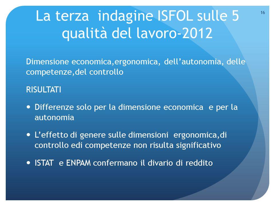 La terza indagine ISFOL sulle 5 qualità del lavoro-2012 Dimensione economica,ergonomica, dell'autonomia, delle competenze,del controllo RISULTATI Diff