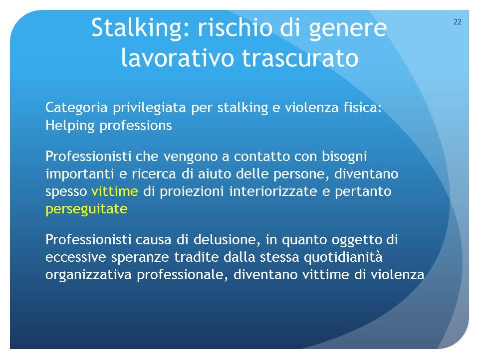 Stalking: rischio di genere lavorativo trascurato Categoria privilegiata per stalking e violenza fisica: Helping professions Professionisti che vengon