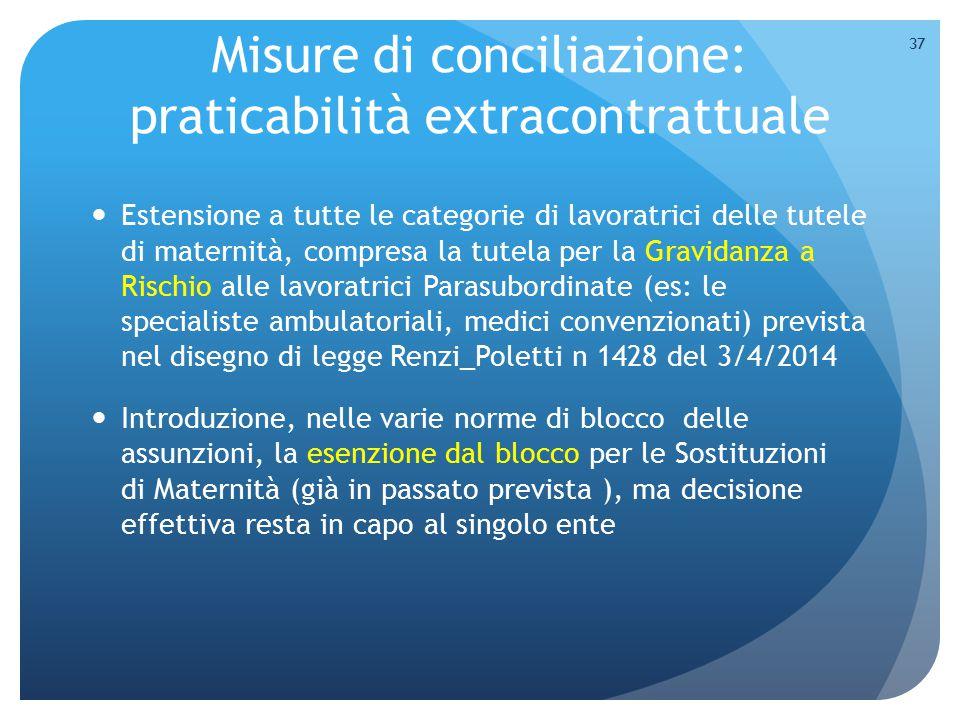 Misure di conciliazione: praticabilità extracontrattuale Estensione a tutte le categorie di lavoratrici delle tutele di maternità, compresa la tutela
